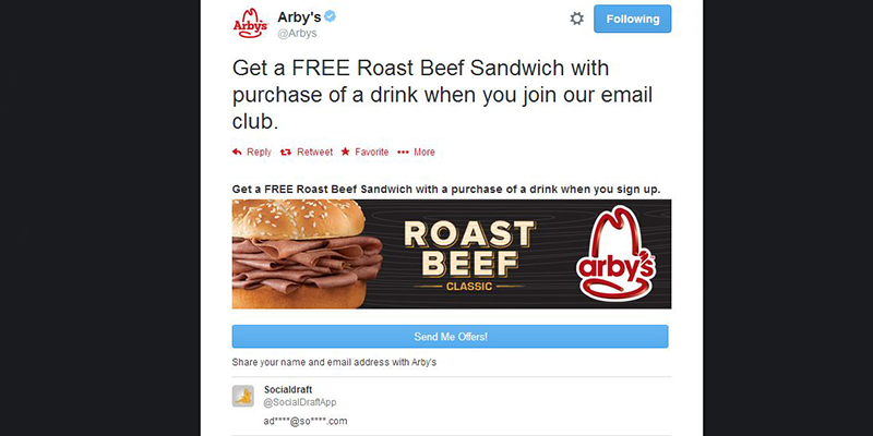 One click sign-up for Arby's Promoted Tweet