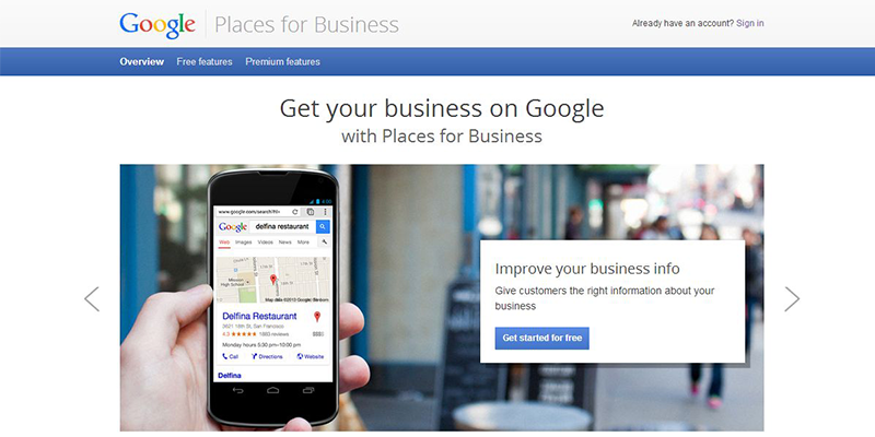 Website of Google Places of Businesses