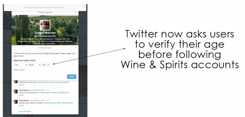 Wine and Spirits twitter accounts ask for age verification