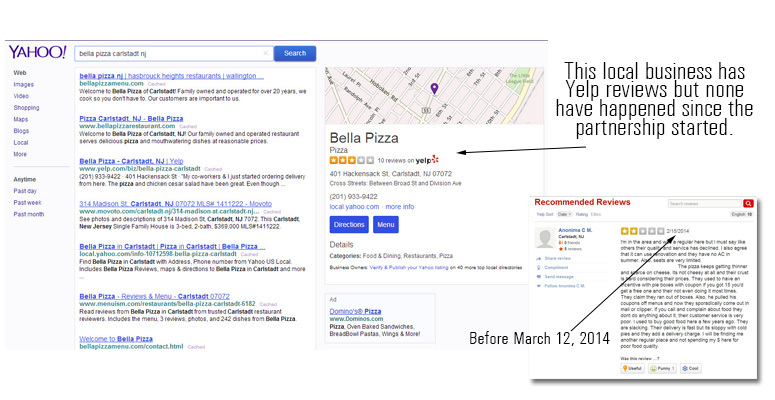Yahoo's partnership with Yelp deletes Yahoo reviews when a new Yelp review comes in