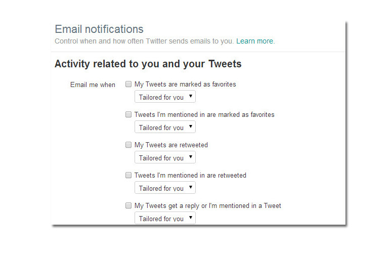 Twitter's Notification feature can be turned on and off in settings