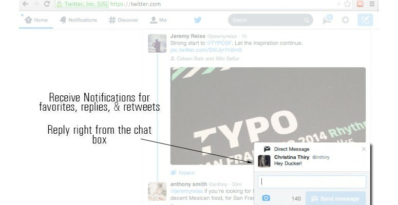 Twitter's notification feature allows you to respond directly from the notification