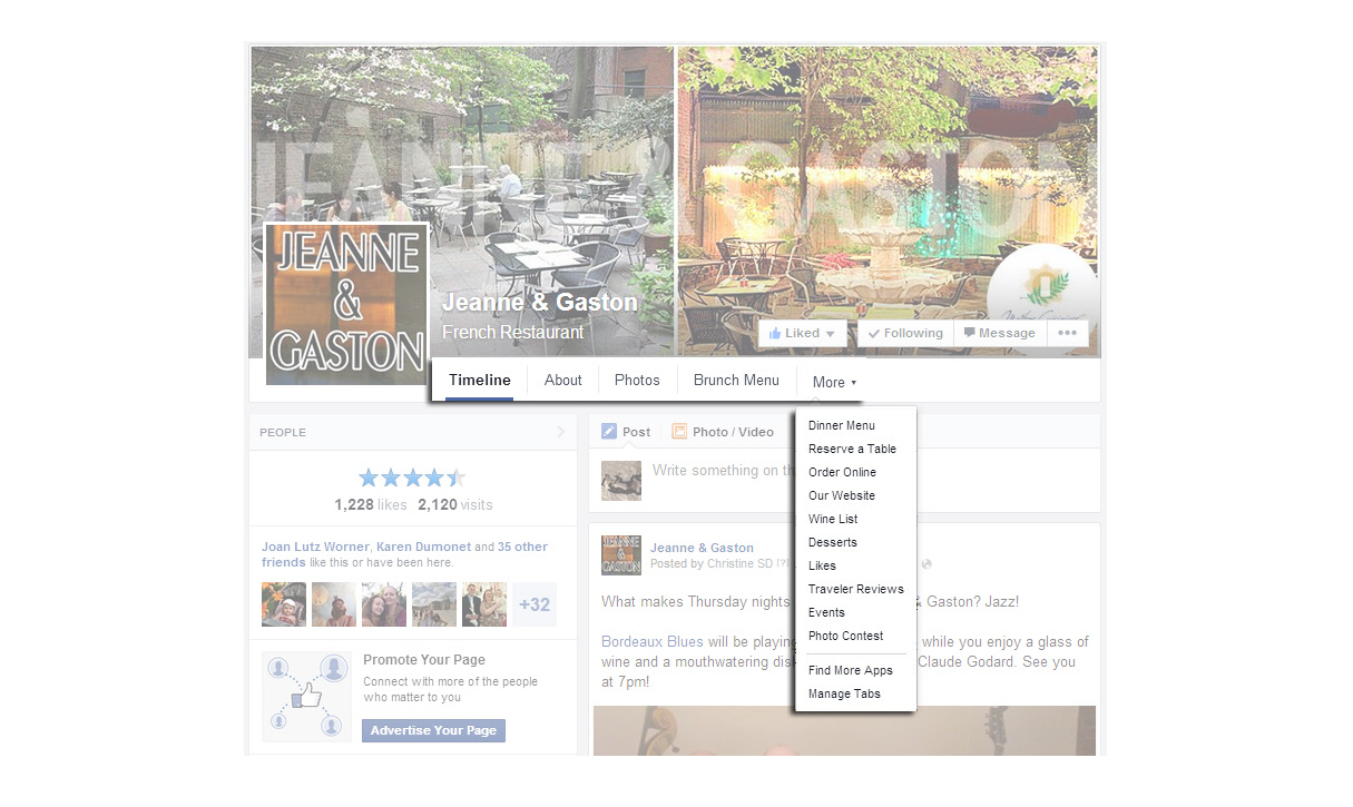 How to navigate a Facebook page