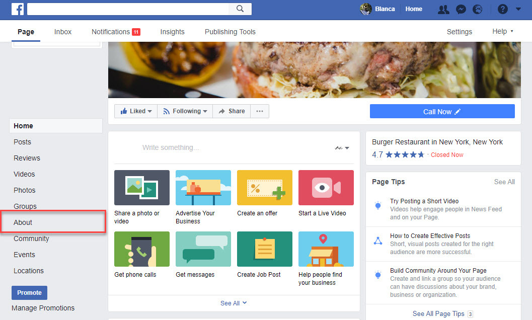 Step by step directions on adding a restaurant menu to Facebook