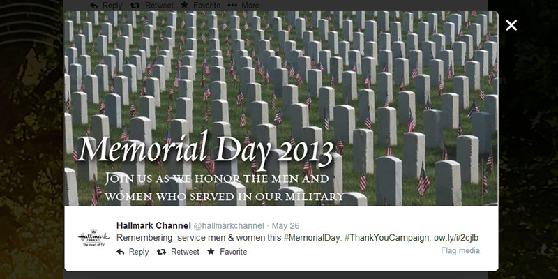 Social Media hash campaigns for Memorial Day
