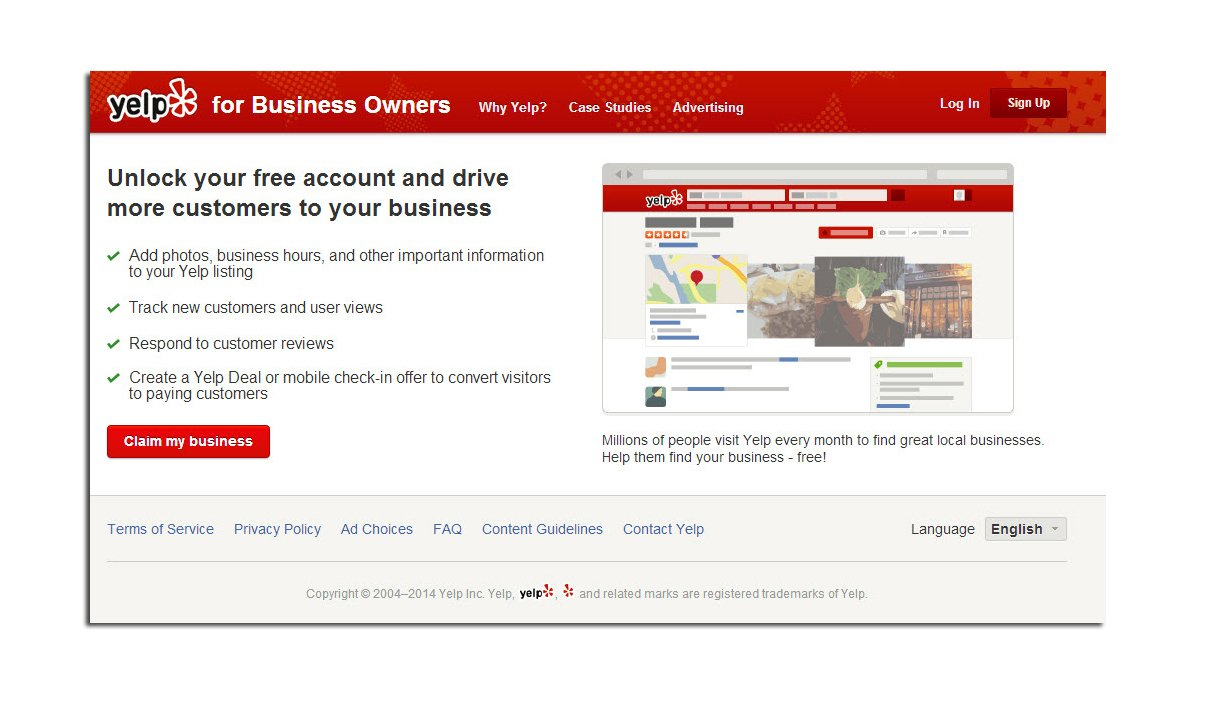 Click the link below to claim your yelp business listing