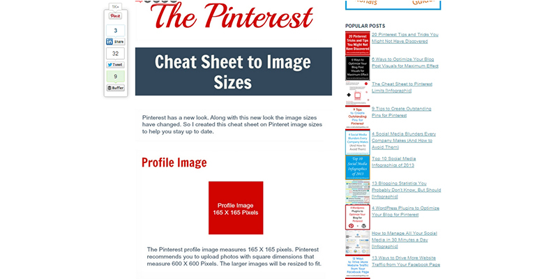 Image Size Cheat Sheet for Pinterest