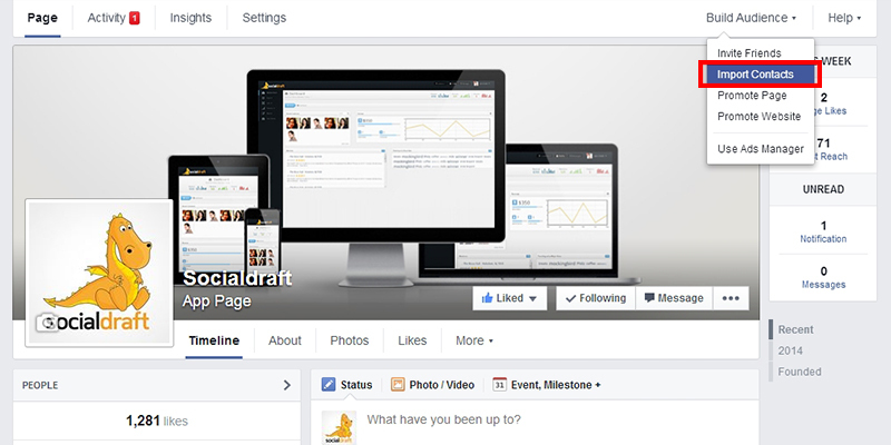 Click on Build Audience Then Import Contacts on Facebook