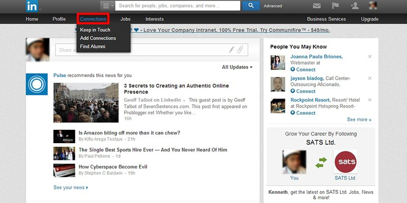 Click on Connection Tab on LinkedIn Main Menu