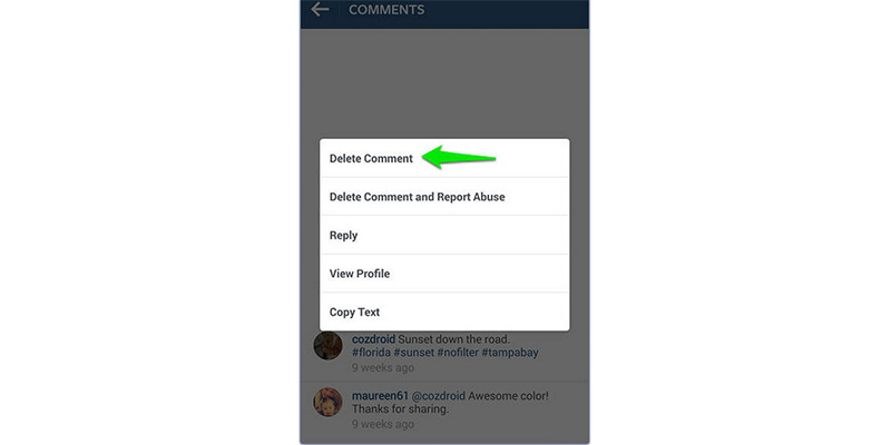 Delete Comment Using Android
