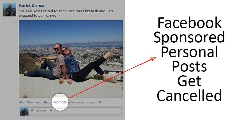 Sponsored personal posts got cancelled on Facebook