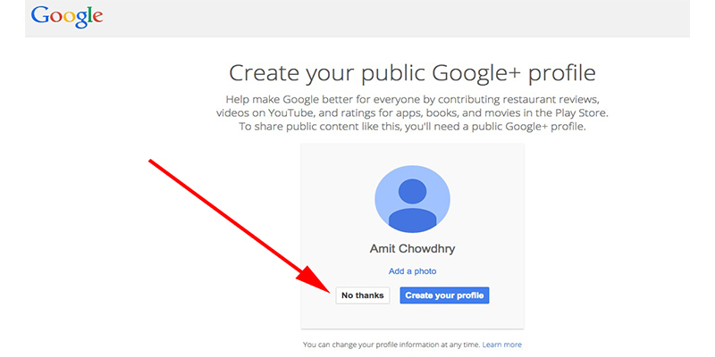 """No Thank You"" button lets you create Google Account with Google+ Sign Up"