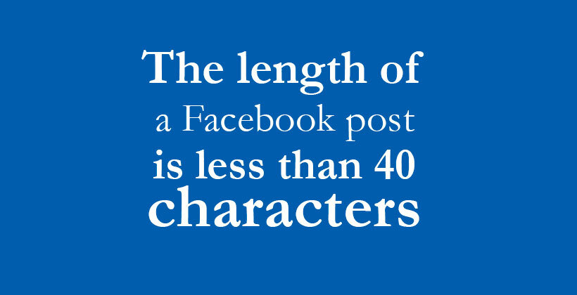 Facebook's post should be 40 characters.