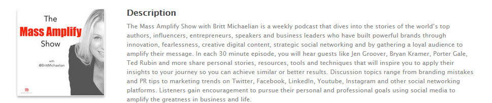 Britt Michaelean's podcast is great for Social media managers