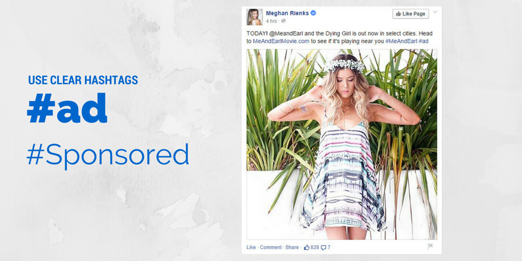 Sample hashtags for bloggers to use on sponsored social posts