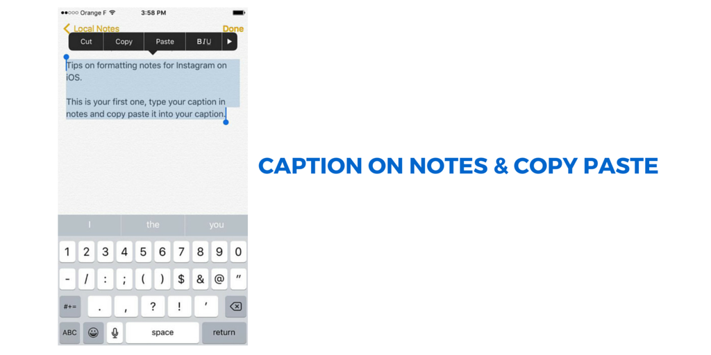 Write your Instagram caption in notes then copy paste from your iphone