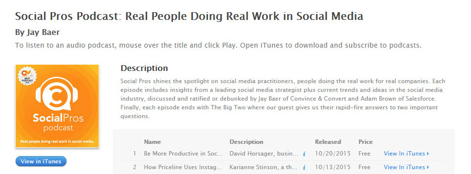 Marketers should listen to the Social Pros podcast to keep up with the latest marketing strategies