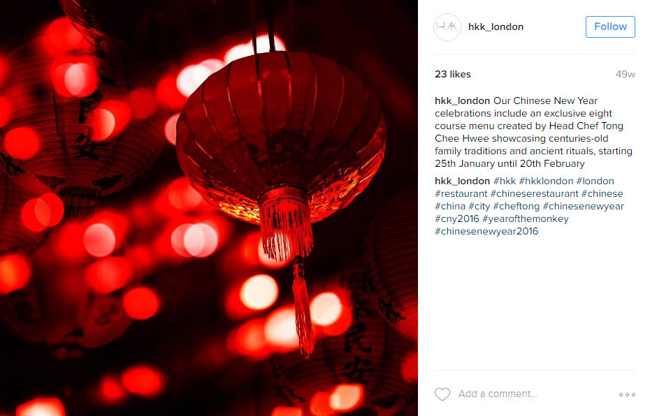 Use location hashtags to attract a local audience during Chinese New Year