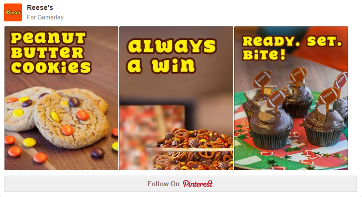 Reeses' branding on Pinterest is subtle but effective