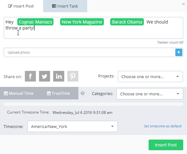 A social media scheduler that lets you tag pages