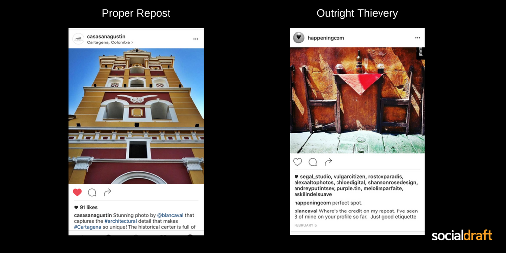 Difference between a proper repost and image theft