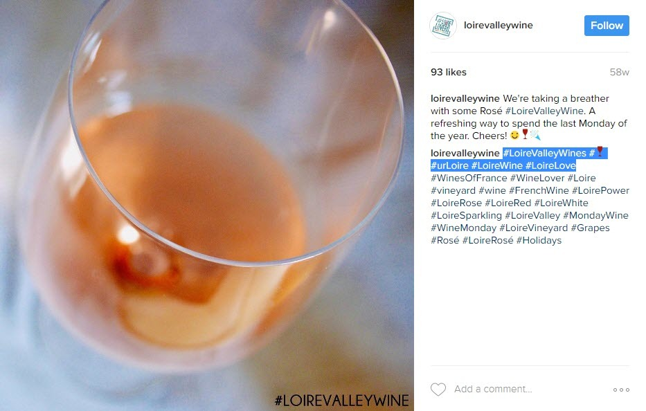 Using regional wine hashtags will help you target the right people