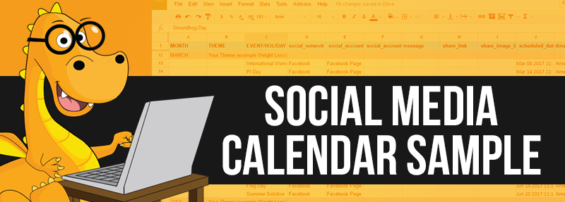 An editable Sample Social Media calendar