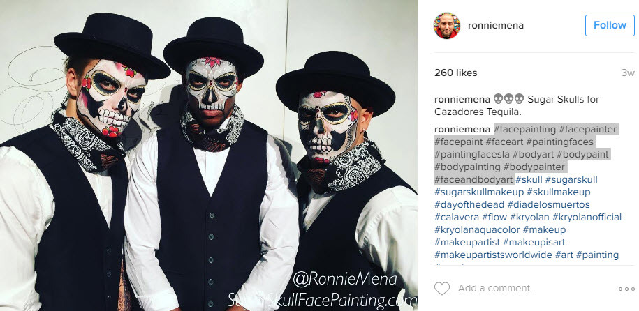 Mix up dia de los muertos hashtags with business tags