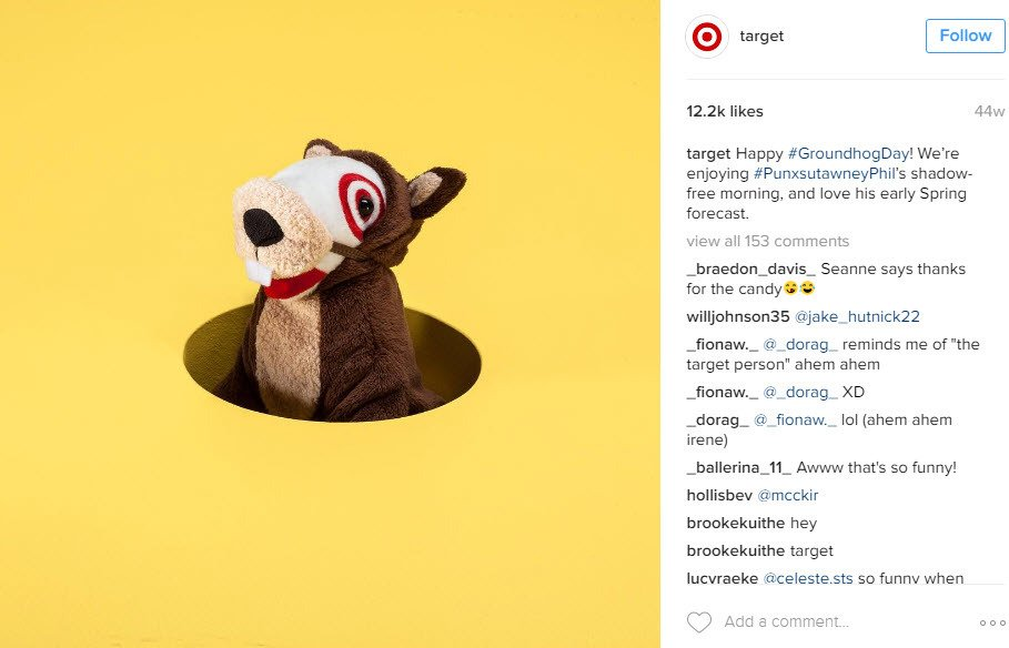 A simple post to share your excitement about Groundhog Day can be quite effective on Instagram
