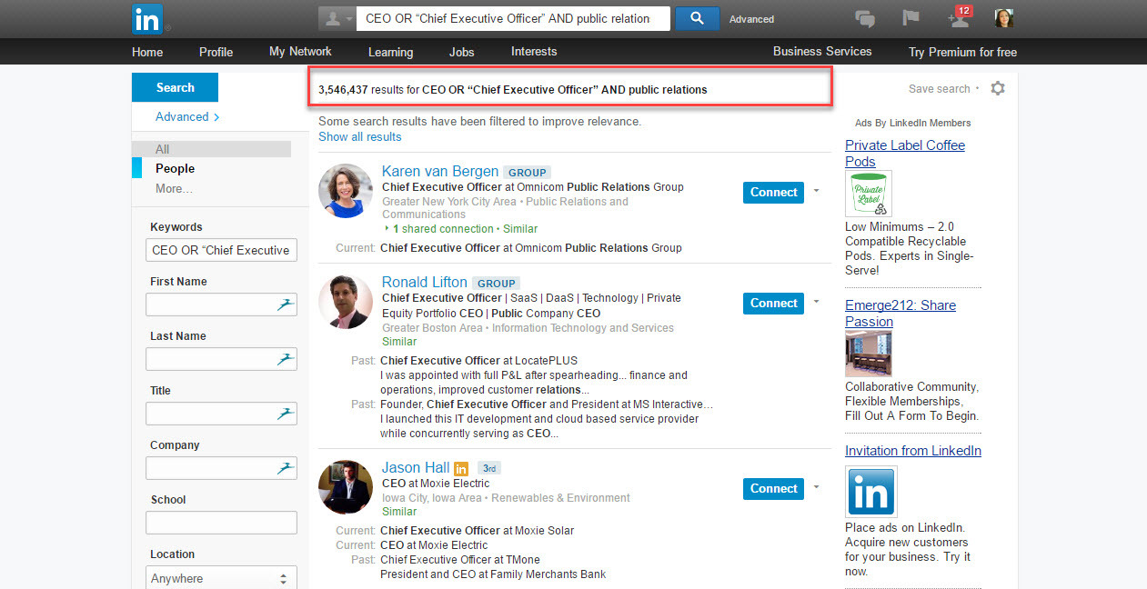 To find hyper targeted leads on LinkedIn use keyword search