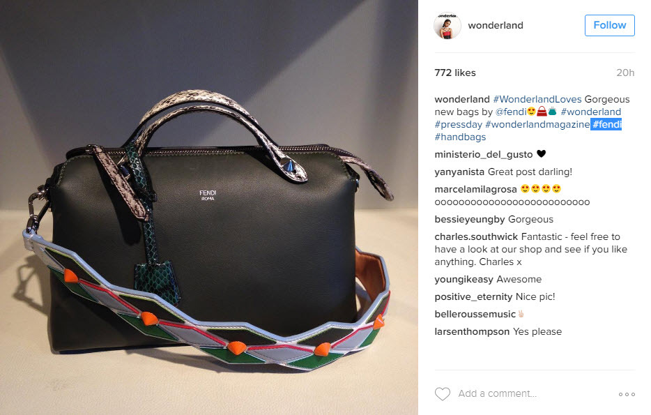 Use the hashtags for brands used in your bag images to attract their followers and fans