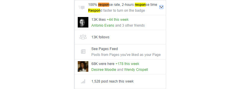 How to get a good response time on Facebook restaurant page