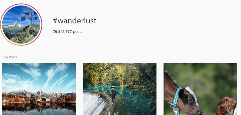 Optimized Wanderlust hashtags for Instagram