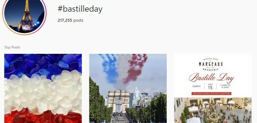 Bastille Day Hashtags to get more organic reach on Instagram