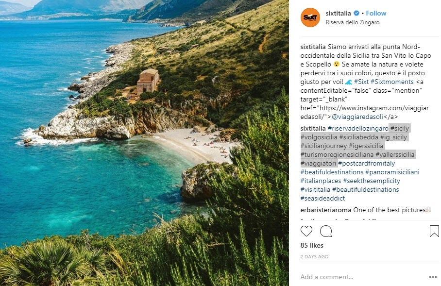 Geotargeted Italy hashtags