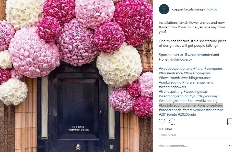 Include geo targeted and pink hashtags to reach an audience more likely to convert