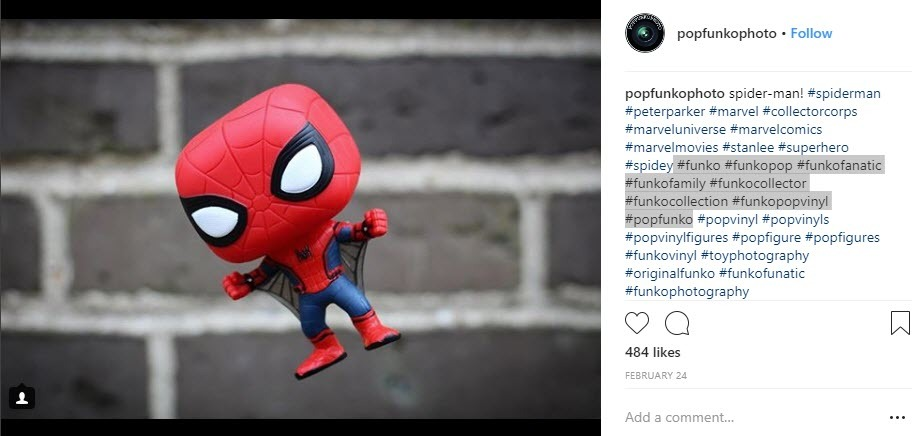 Use hashtags for brand related to Marvel
