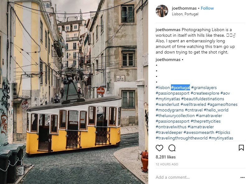 Lisbon Hashtags mixed with Portugal hashtags